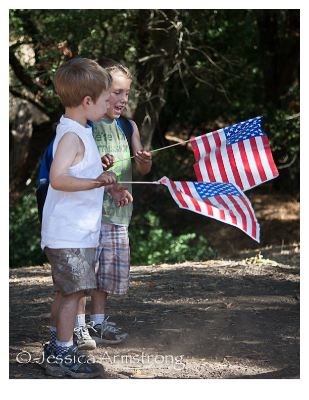 HikingWithAmericanFlags-1